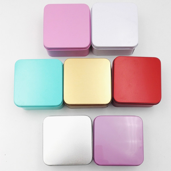 2018 New Square Tea Candy Storage Box Wedding Favor Tin Box Sundries Earphone Cable Organizer Container Receive Box Gift Case