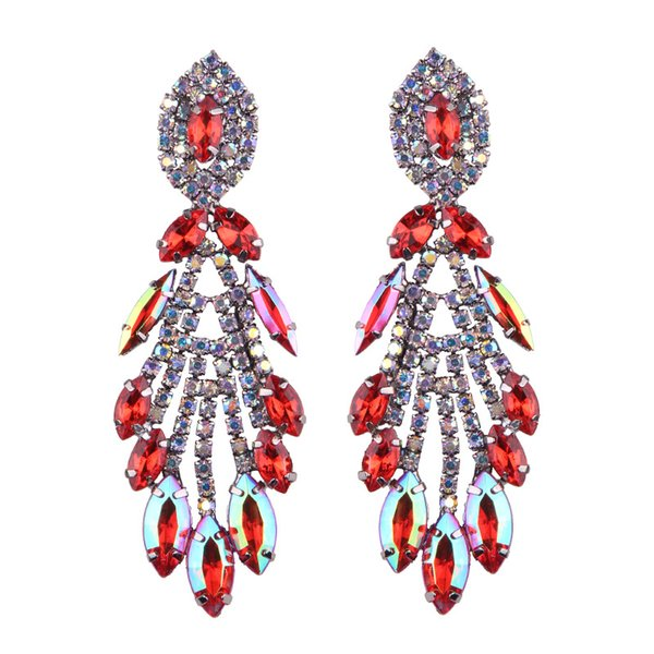 Big Design Luxury Water Drop Pendent Crystal Stud Gem Statement Earrings Jewelry 5 Colors 1 Pair for Women