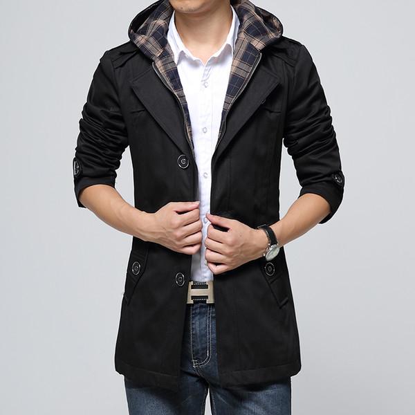 Al por mayor-moda marca larga Trench Coat hombres 2017 Winte Hat desmontable con capucha rompevientos hombre Casual algodón sólido chaqueta 4XL