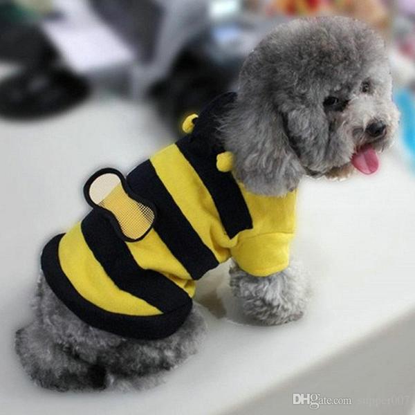 FashionPet perro pequeño gato polar Bumble Bee ala caliente con capucha traje chaqueta de abrigo grande
