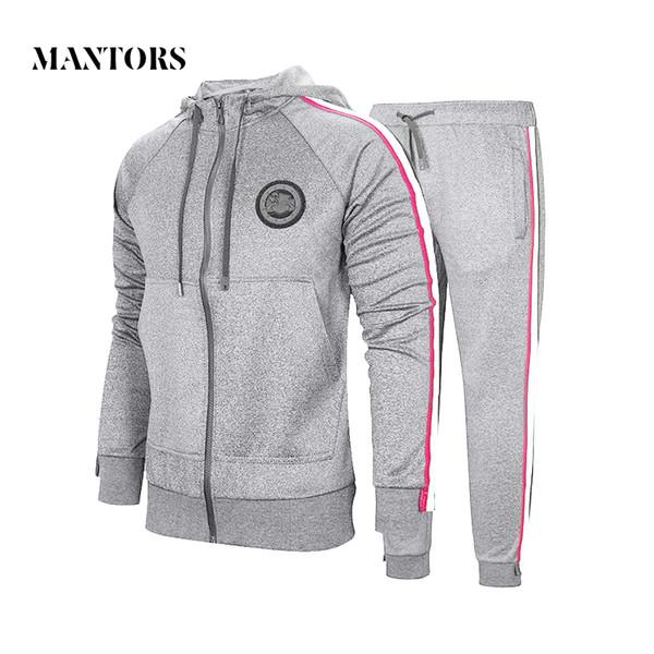 Autumn Men Set 2018 Sportswear Suit Hooded Sweatshirt Tracksuit Men's Casual Solid Zipper Outwear 2PC Hoodies + Pants Sets Male