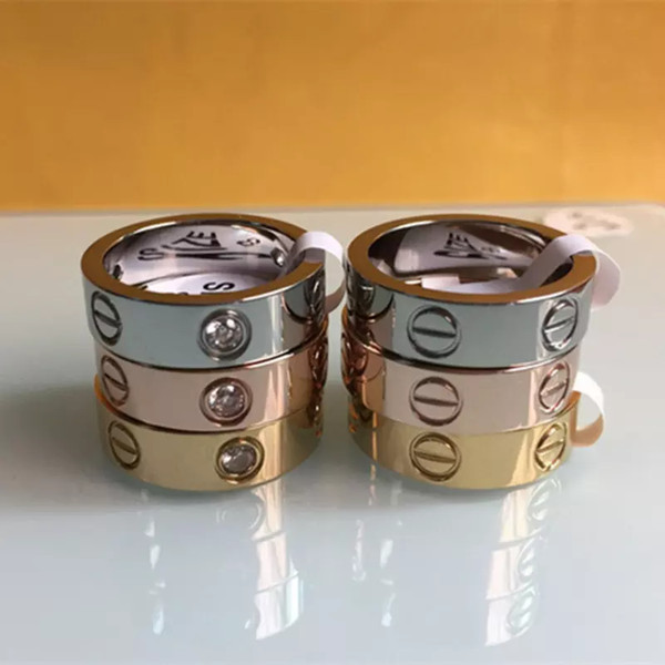 Moda Feminina homens Famosa marca de cristal jóias carter anéis de amor de aço de titânio de luxo Rose Gold bijoux casal amantes anel