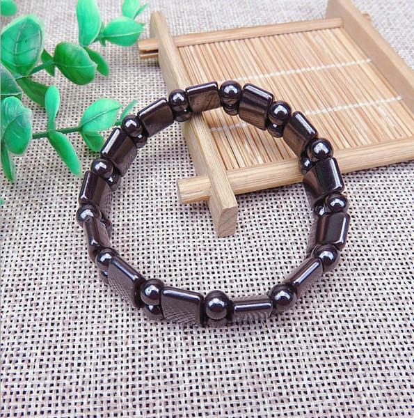 Europa Charm Bracelets Brasil bílis Natural preto Moda magnética retro corda de mão de pedra terapia magnética pulseira elástica jóias