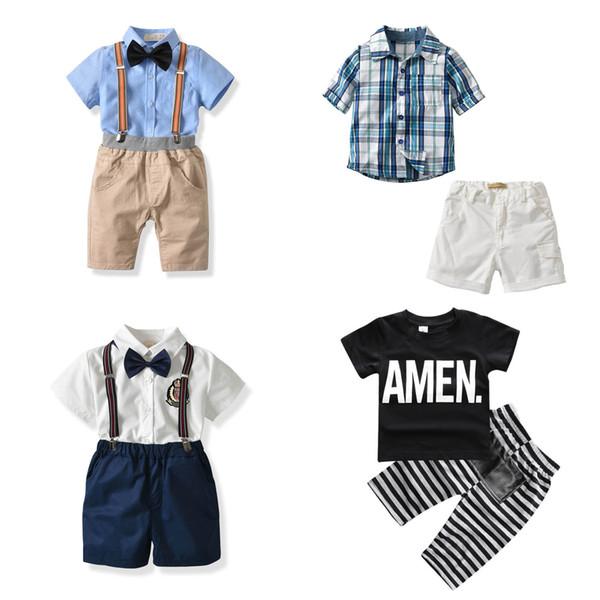 Meninos Conjuntos de Roupas 1-6 T Tie Shirt Gentleman Shorts Tirantes Suspensórios Camisetas de Manga Curta AMEN Xadrez Tops Algodão Meninos Ternos de Verão