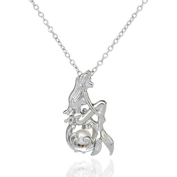 Collana con ciondolo a sirena Collana con ciondolo a sirena con perle di ostrica Perle argento con perle intercambiabili