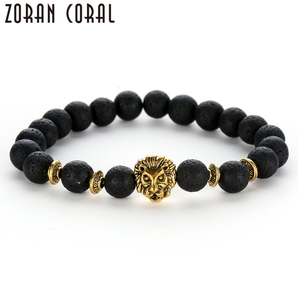 2018 Men's Fashion Bracelet Black and White Energy Beads Golden Lion Natural Material Lava Rock Lady Yoga Bracelet Jewelry Gift