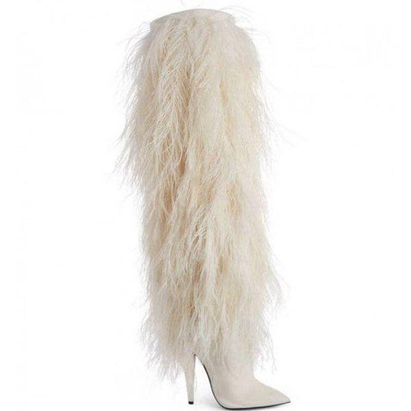 2018 yeni moda çizmeler sivri burun beyaz kürk yüksek topuklu kış kadın Uyluk-Yüksek Çizmeler kadın ayakkabı botas parti ayakkabı