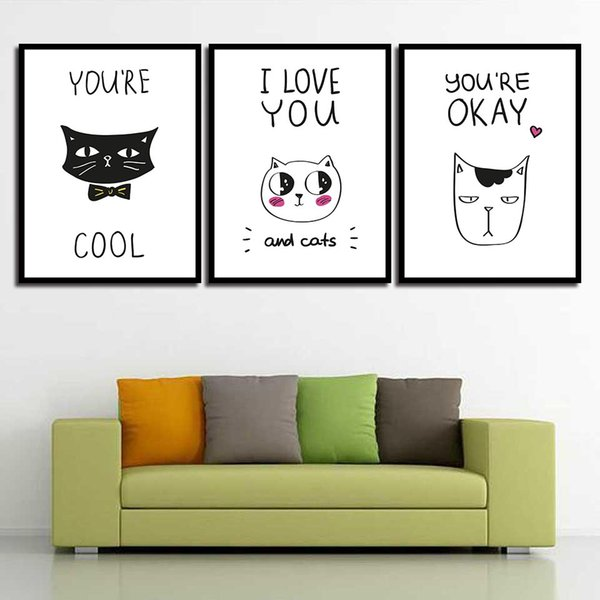 Painting Picture Minimalism Nordic Poster Cartoon Cute Animal Cat Print HD Home Decoration On Canvas Modern Wall Artwork Style
