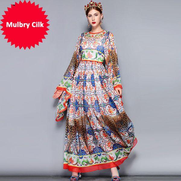 Fashion Runway Maxi Dress 5XL Plus size Women's Loose Flare Sleeve Animal Pattern Floral Print Vintage Long Dress