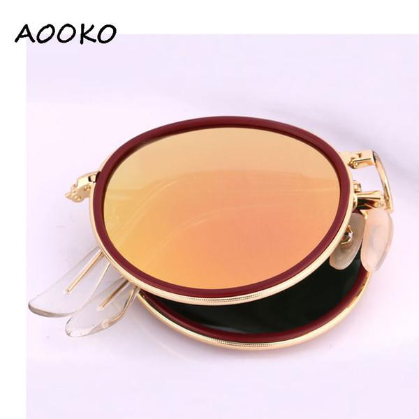 Hot top quality Round Folding flash Sunglasses New Fashion Vintage Mirror Metal Frame Women Retro pink mercury 3517 gafas Sun Glasses