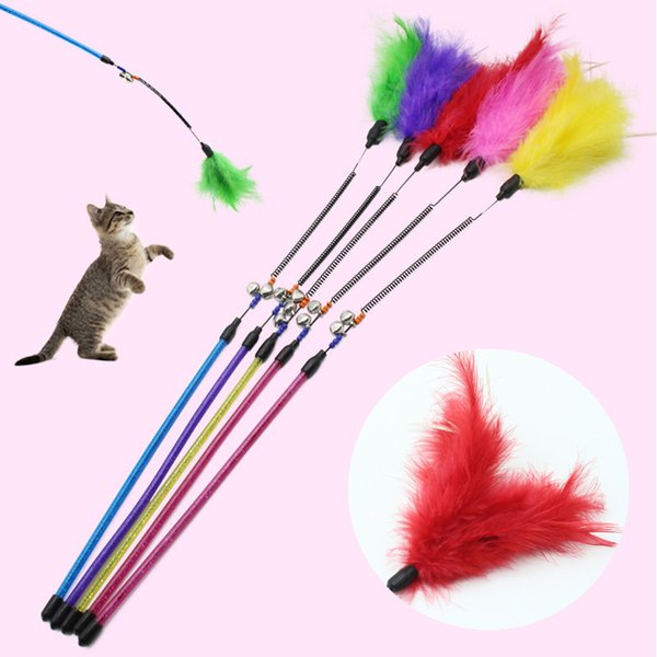 Funny Cat Stick Toys Pet Cat Bell Toys Turkey Feather Kitten Playing Toys Long Steel Wrie