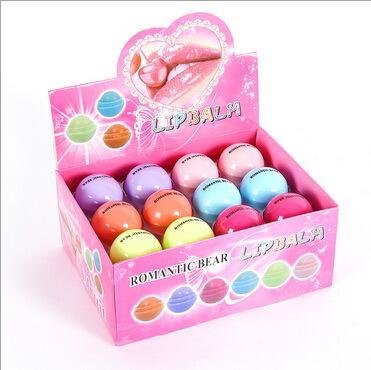 top popular Cute Round Ball Lip Balm 3D Lipbalm Fruit Flavor Lip Smacker Natural Moisturizing Lips Care Balm Lipstick 2021