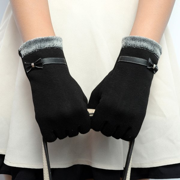 Guantes para mujer Pantalla de Invierno Arco Cálido Suave Guantes de Muñeca Manoplas Cachemira Dedo Completo guantes mujer Handschoen