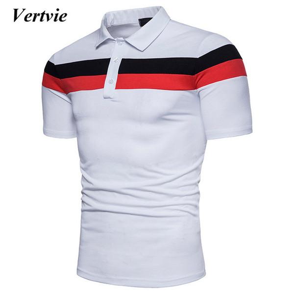 M Uomo Estate Polo Camicia T-SCHIRT poloschirt A Strisce Manica Corta Cotone Blu