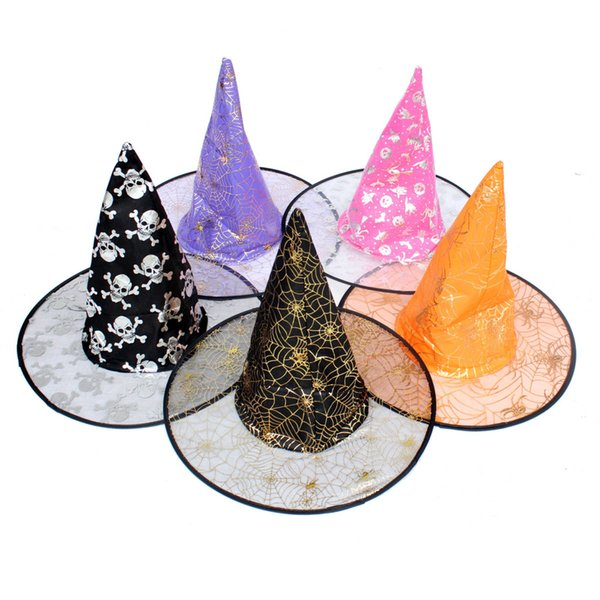 David accessories Halloween Prop Magic Hat Stars Printed witch hat Cap organza cloth double 5 pieces,5Yc2391