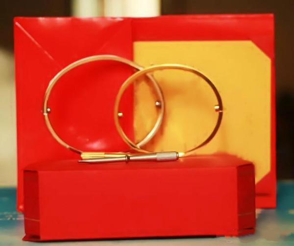 Chaude Titanium Acier Amour Bracelets Argent Rose Or Bracelets Femmes Hommes Vis Tournevis Bracelet Couple Bijoux Avec Boîte D'origine Ensemble