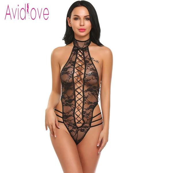 Avidlove Seksi lingeire Kadınlar V Boyun Halter Dantel Sexy Lingerie Babydoll Mini Y1892909 See Through
