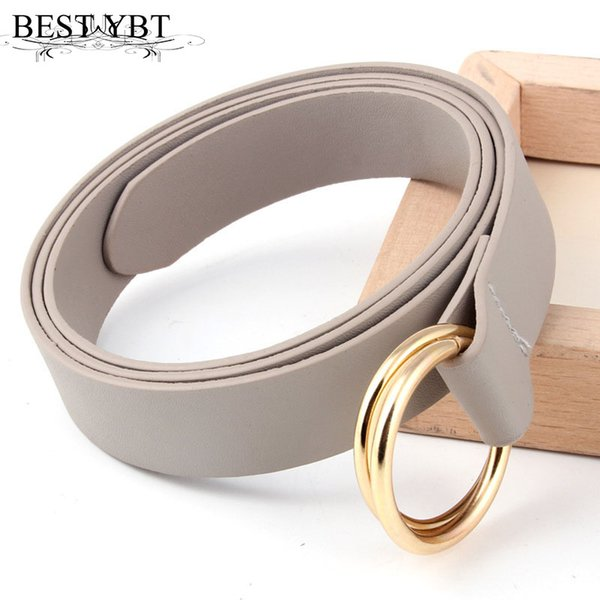 Best YBT Women's Belt Imitation leather Casual fashion Women Belt Double ring buckle alloy button Soft surface Material