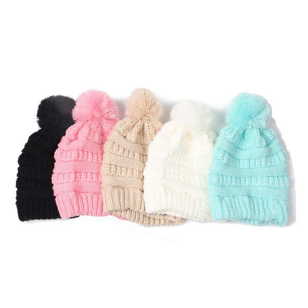 Compre Niños Pom Pom Beanie Winter Solid Knit Hat Crochet Knit Cap ...