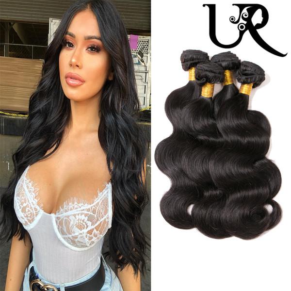 URVENUS Brasileño camboyano filipino peruano Body Wave Paquetes de cabello 8A Visón Malasio de Virgin Virgin Body Wave 3 / 4pcs 8-26 pulgadas Color natural