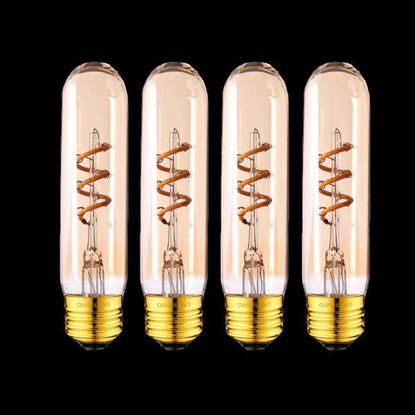 Gold Tint T30 130mm Tubular Spiral LED Filament Bulb Edison Flexible Lamp 3W 2200K E26 E27 Base Decorative Pendant Lamp Dimmable