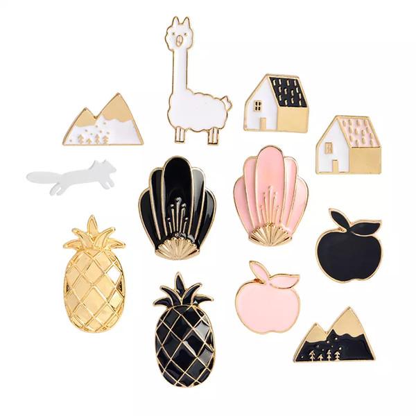 Al por mayor-Negro Pink Pineapple Apple House Animal Mountain Shell broche botón pernos chaqueta de la capa de dibujos animados regalo de la joyería de moda