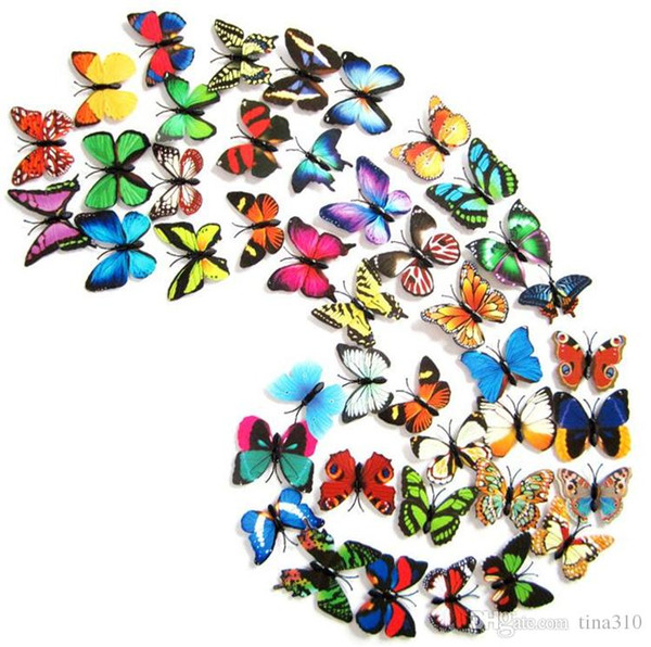 top popular 4.5 CM single simulation butterfly Refrigerator stick magnetic  pins 3d butterflies pvc removable wall stickers butterflys decoration I039 2021