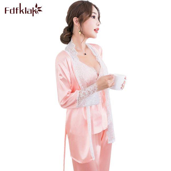 Fdfklak 3 pieces set lounge sleepwear pajamas women silk lace dressing gowns long sleeve women's sleep pijama pyjama femme