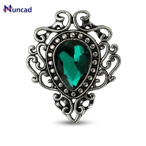 New Vintage Style Jewelry Water Drop Flower Shape Brooches Red Green Blue Stone Lapel Pin Brooch for Women