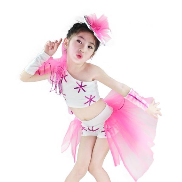Kızlar için modern dans kostüm Seksi Modern şarkıcılar için caz dans kostümleri kız sahne kostümleri çocuklar