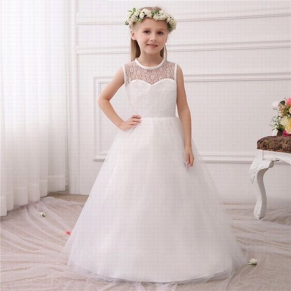 Princess Ivory Flower Girl Dresses Key Hole Back Ball Gown Girls First Communion Dresses Vestidos De Comunion ytz224