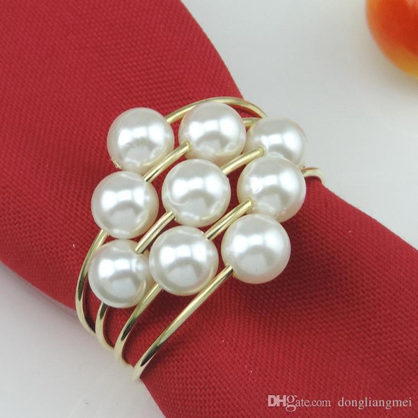 hot sell New flower Imitation pearls gold silver Napkin Rings for wedding dinner,showers,holidays,Table Decoration Accessories wn546B 200PC