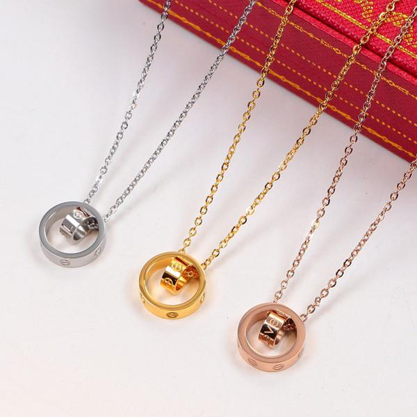 2018 AMOR Doble Círculo Colgante de Oro Rosa Collar de Color Plata para Mujeres Collar de Bisutería Vintage con caja original