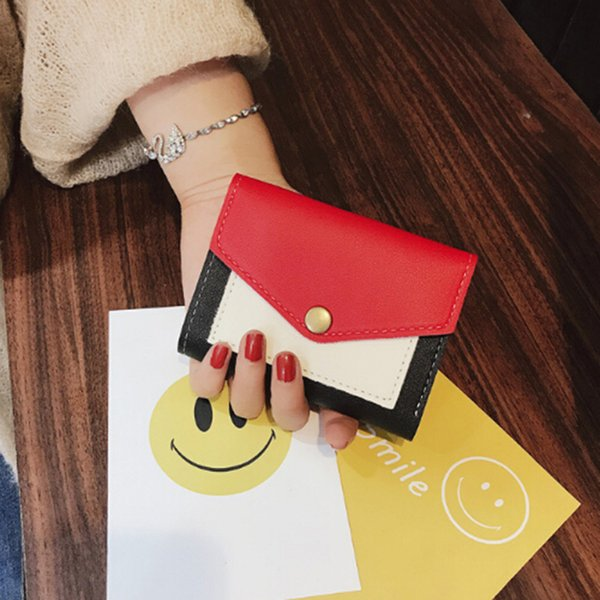 Femmes PU Cuir Portefeuille Femmes Court Japon et Corée du Sud Contraste Couleur Simple Enveloppe Portefeuille Porte-Carte Sac Bourse carteira feminina