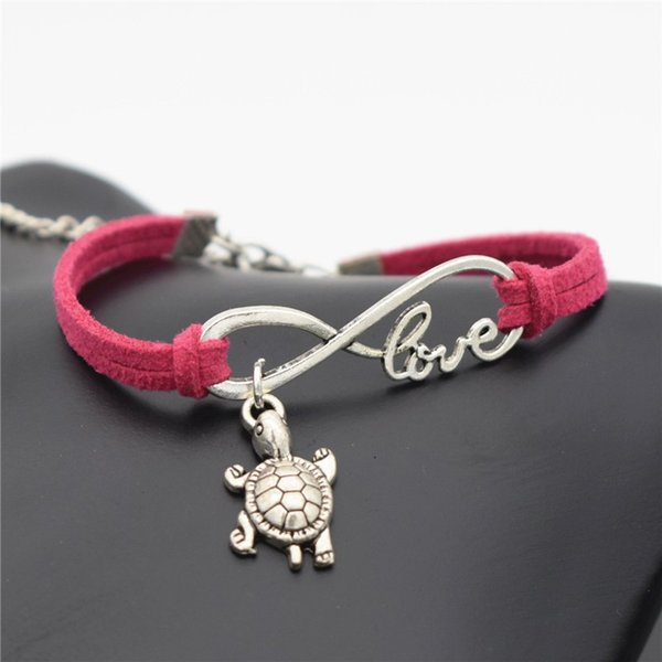 Infinity Love Small Tortoise Sea Turtle Charm Bracelets For Men Women Jewelry Rose Red Leather Suede Rope Cuff Bangles Valentine's Day Gifts