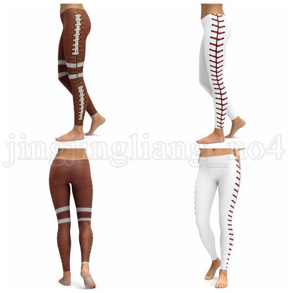 Mulheres calças de yoga Rugby Baseball imprime Execução de Fitness Esporte Leggings Calças de Yoga Esportes Estiramento Calças LJJK1027