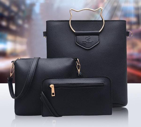 Moda feminina bolsa de ombro messenger bag nova maré lychee padrão gato mão três peças tampa mãe bolsa carteira designer