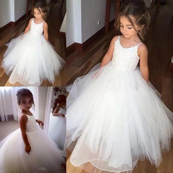 Cute Little Flower Girl Dress A Line Floor Length Hand Made For Wedding Dance Flowers Tiered Beads Kids Prom Birthday Dress Cheap Girls