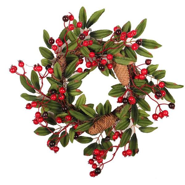 Christmas Wreath Pendant Home Window Decoration Green Big Pine Cone Rattan Wreath Thanksgiving Wreath