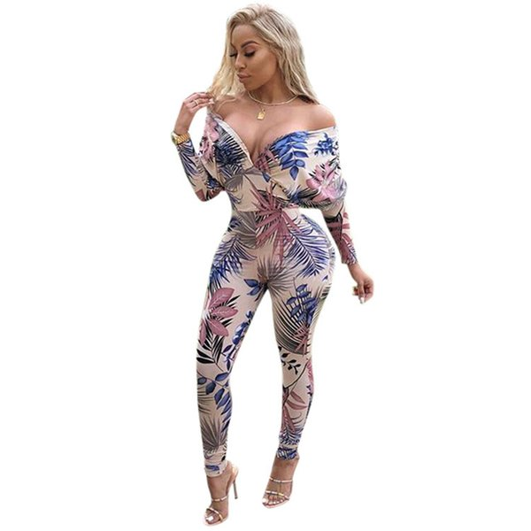 Top Quality High Design 2018 deep V print tight sexy jumpsuit Night Club Women Jumpsuit Full Sleeve Long Bodycon Romper