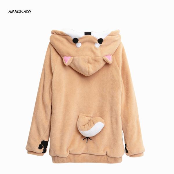 Harajuku Japanischen Kawaii Hoodies 2018 Frauen Sweatshirts Mit Ohren Niedlichen Doge Muco Winter Plüsch Schöne Muco Anime Hooded Hoodies