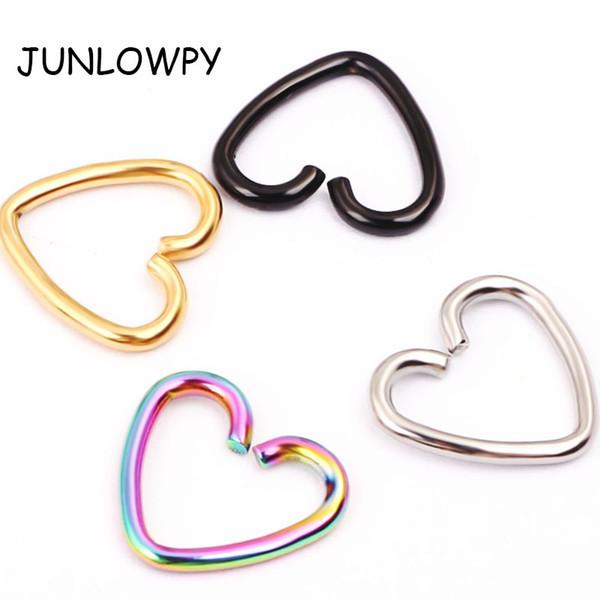 40pcs/lot 4 Colors Ear Cartilage Tragus Piercing Helix Earrings Heart Labret Rings Lip Hoop Nose Rings Body Jewelry Piercing