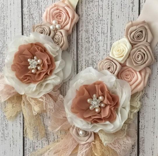 Pink Beige Dusky Rosette Flores Cetim Sash e Headband Set Com Pérolas Pedrinhas Lace Para Meninas Barriga Do Cabelo Acessórios