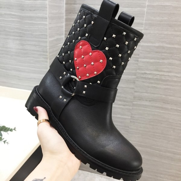 2018 famous brand fashion luxury designer women Rivet boots black Full leather high quality Ladies Ankle Boots EUR 35-41