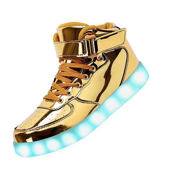 Zapatos Unisex LED High Top Casual AF One Zapatillas de deporte Moda para hombre Monopatín luminoso Carga USB Ilumina los zapatos de baile para mujeres niñas