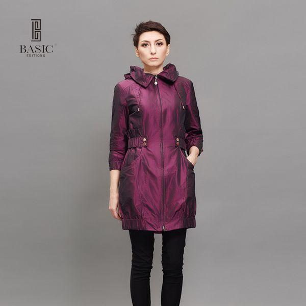BASIC EDITIONS New Fashion Frühling Herbst Frauen Trenchcoat Long Outwear Blau Lila Reißverschluss Schlank Trenchcoat F0992