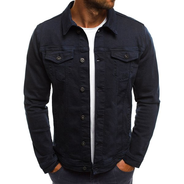 Men's Autumn Winter Shirts Plus Size Button Solid Color Vintage Denim Male Casual Dress Shirt Turn-down Collar Cardigan Shirt