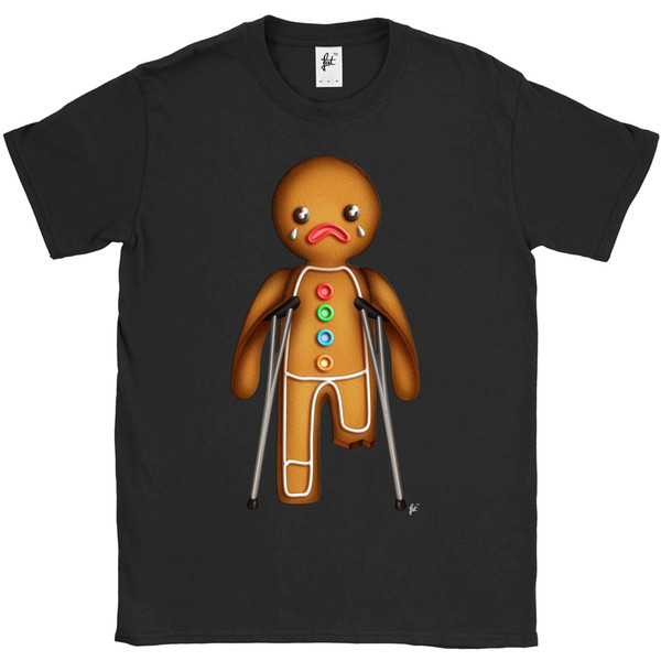Xmas Gingerbread Man на костылях Сломанная футболка с длинными рукавами Cool Casual Pride T Shirt Men Unisex New Fashion Tshirt Loose Size Top