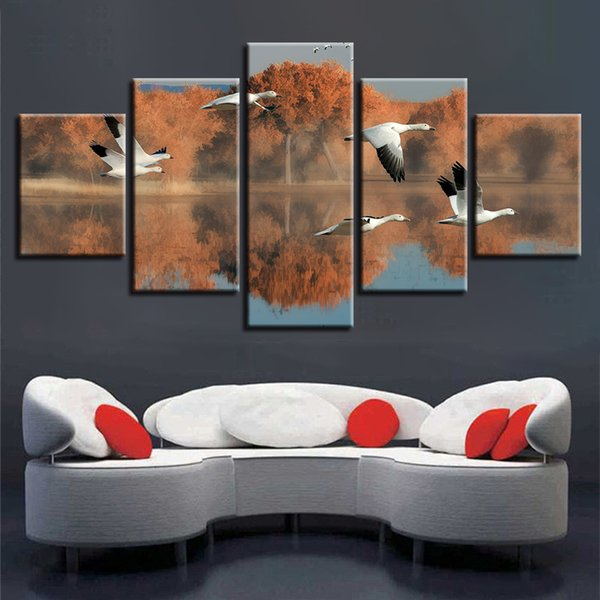 Wall Art Print Poster 5 Pieces Animals Flying Geese Tree Lake Bird Scenery Painting Home Decor Framework Modular Canvas Pictures