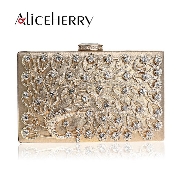 Luxury Famous Brands Women Party Bags Handmade Peacock Diamond Crystal Lady Evening Clutch Bag Day Clutches Wedding Box Purse